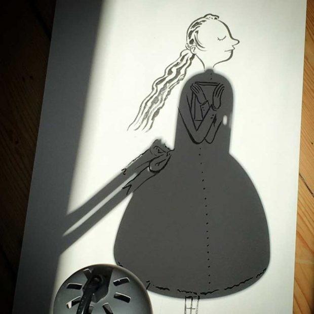 تصاویری بسیار دیدنی از نقاشی با سایه اشیا 1