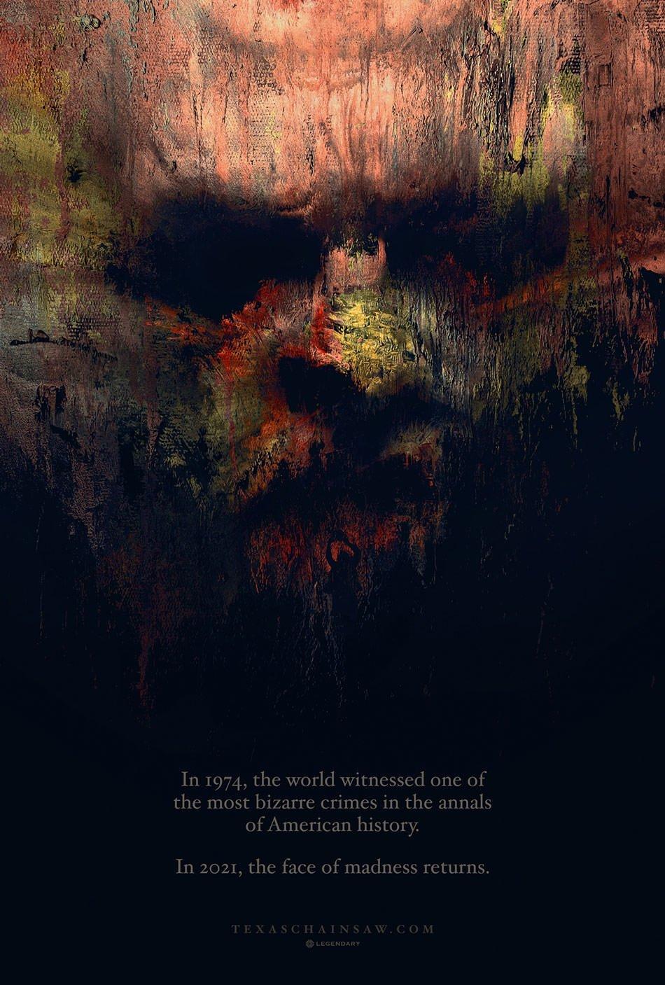 پوستر فیلم ریبوت Texas Chainsaw Massacre چهره «صورت چرمی» را نشان میدهد 1